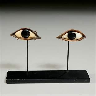 Pair Egyptian mummy case eyes