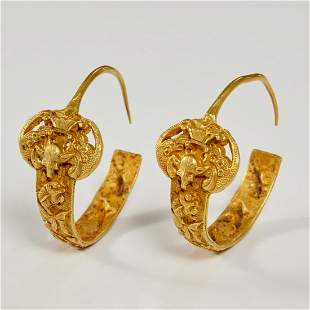 Chinese Ming Era gold earrings, ex Irving Coll.