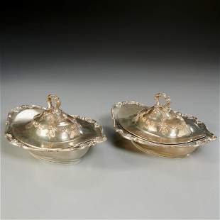 Pair Gorham sterling covered vegetable dishes