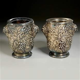 Nice pair Victorian Sheffield plate wine coolers