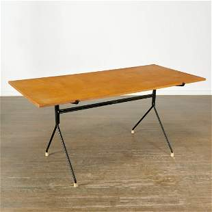 Norman Cherner, rare iron and birch dining table