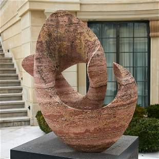 Mark Gero (attrib), outdoor marble sculpture
