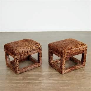Karl Springer (attrib), pair leopard skin stools