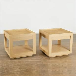 Karl Springer, pair snake skin clad side tables