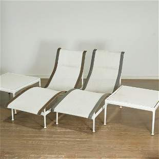 Pair Richard Schultz chaises and side tables
