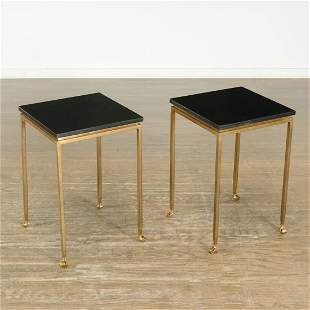 Nice pair Modern bronze granite top side tables