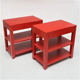 Pair Karl Springer style lacquered side tables