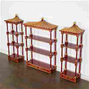 Set (3) Chinoiserie pagoda-form wall etageres