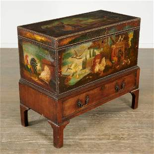 English painted leather carriage trunk on stand