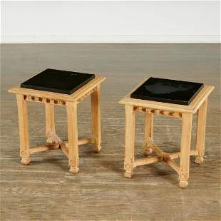 Pair English Neo-Gothic side tables or stools