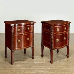 Pair George III inlaid mahogany night tables