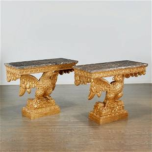 Pair George II style giltwood eagle consoles