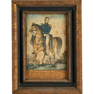 Folk Art painting, U.S. military officer, 19th c.