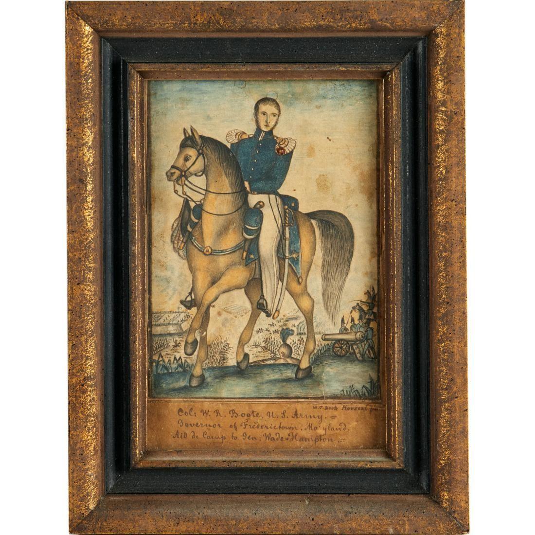 Folk Art painting, U.S. military officer, 19th c.