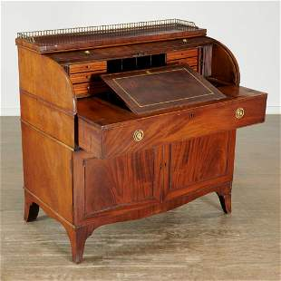 George III mahogany roll top secretary bureau