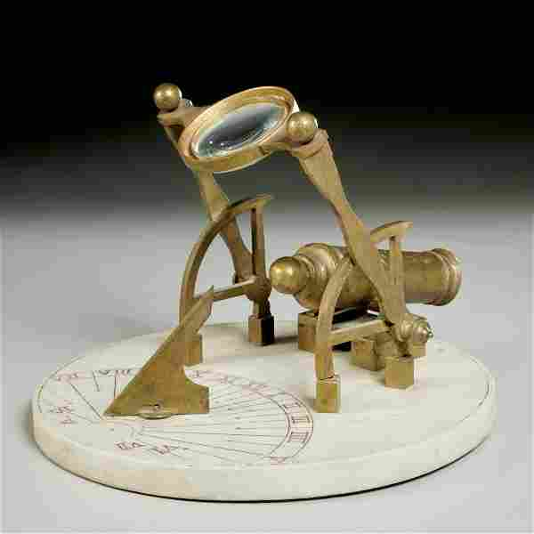 French marble and bronze noon-cannon sundial