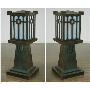 Greene & Greene (attrib), Pair monumental lanterns