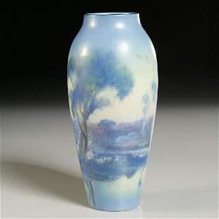 Rookwood, vellum landscape vase, Rothenbusch