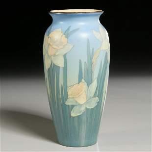 Rookwood, Daffodil Vellum vase, Edward Diers