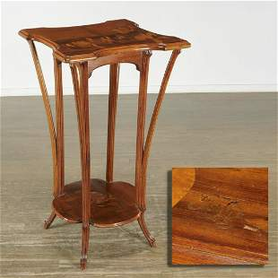 Emile Galle, Art Nouveau marquetry two-tier stand
