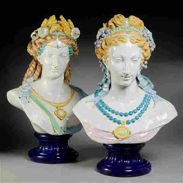 Auguste Jean, pair monumental faience busts