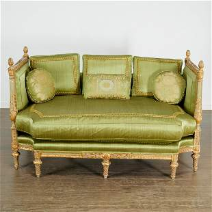 Antique Louis XVI style painted and gilt canape