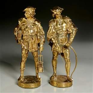 Emile Picault (after), pair gilt bronze statues