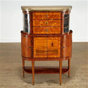 Unusual Louis XVI marquetry inlaid display cabinet