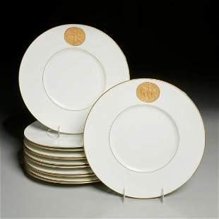 """KPM, (12) """"Arkadia Gold"""" dinner plates"""