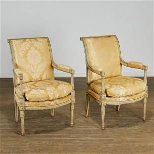 Pair antique Directoire style painted fauteuils