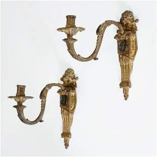 Pair antique Regence style gilt bronze sconces
