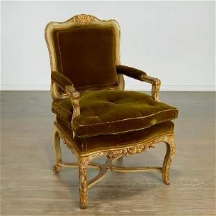Nice Italian Rococo painted and gilt armchair
