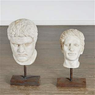 (2) Italian Grand Tour style white marble busts