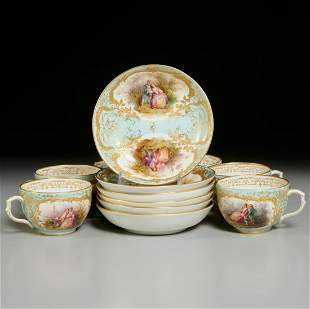 Set KPM hand painted porcelain cups and saucers