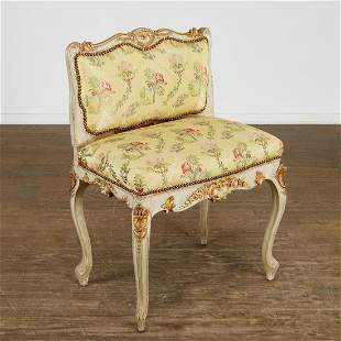 Continental Rococo gilt, painted low-back chaise