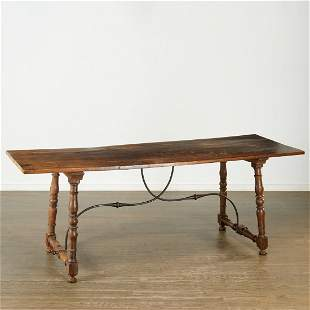 Spanish Baroque walnut and wrought iron table