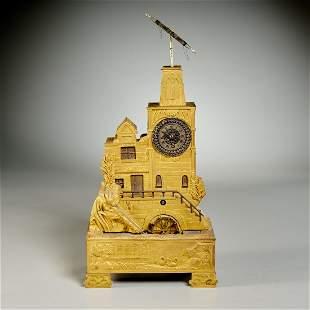 19th C. French gilt bonze automaton clock