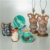 Majolica lamps and tablewares group