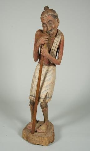 3: Southeast Asian carved and polychromed wood figure