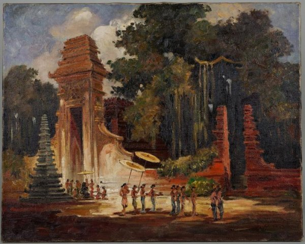 5: Southeast Asian oil painting signed illegibly Grisee