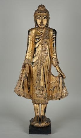 7: Antique Thai mirror inlaid giltwood standing buddha