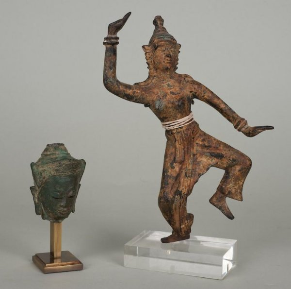 9: (2) early Thai bronze and iron Buddhist artifacts