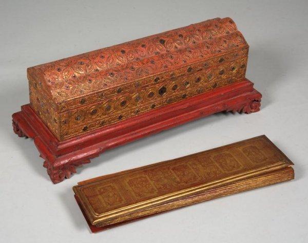 10: Thai Bangkok Period gilt lacquer manuscript in case