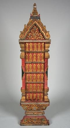 11: Thai carved inlaid red lacquer votive plaque