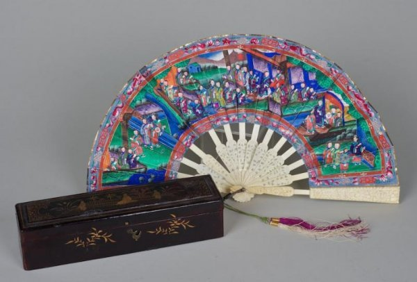 12: Chinese Export hand-painted paper and ivory fan