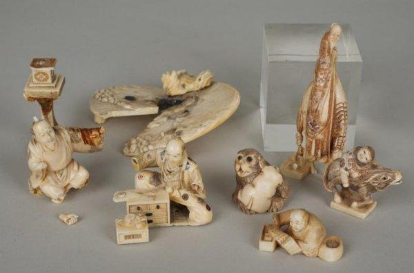 14: (5) antique artist signed Japanese ivory netsuke an