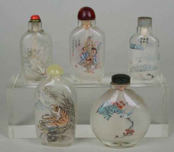 18: (5) Chinese inside painted snuff bottles from the K