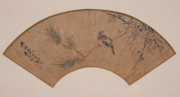 20: (2) antique Japanese painted paper fans in box fram - 2