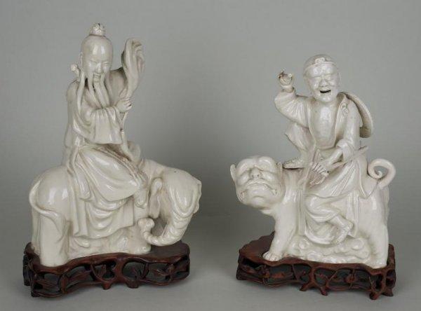 23: Pair antique Chinese Dehua porcelain immortal figur