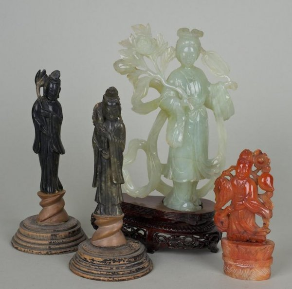 25: (4) antique hardstone Guanyin figures incl. ex coll